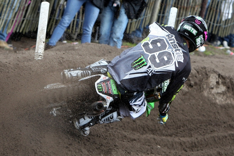 Max Anstie was second in first moto but DNF's in second.